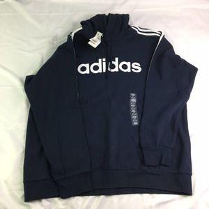 Adidas Essential 3 Stripe Pullover Hoodie Legend